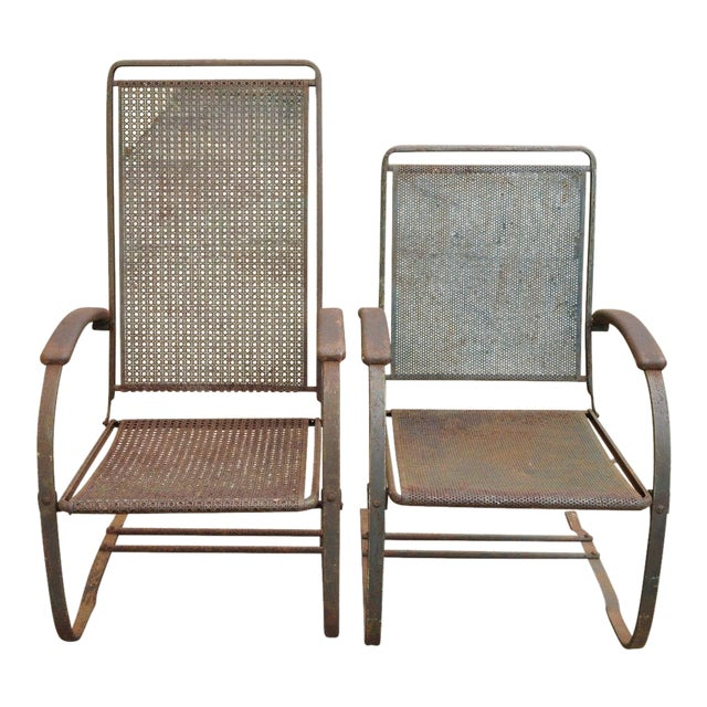 Vintage Steel Metal Mesh His and Hers Patio Bouncer Lounge Chairs - a Pair For Sale