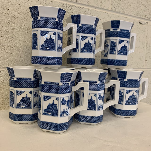 Asian Blue & White Chinoiserie Coffee Mugs - a Set 10 For Sale - Image 3 of 13