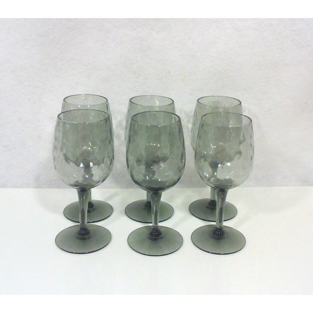 Empoli Italian smoked glass stemware set in textured glass in a cordial size. Unmarked and all are in great vintage...