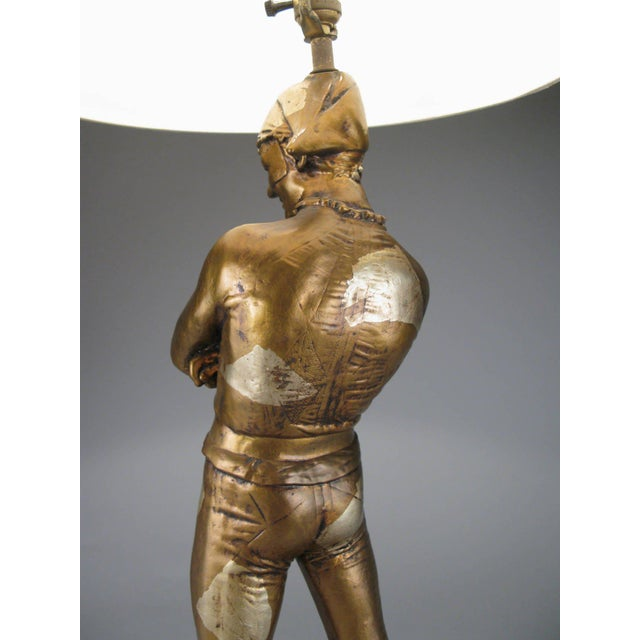 1960s Vintage 1960s Harlequin Jester Lamp in Gold and Silver Leaf For Sale - Image 5 of 7