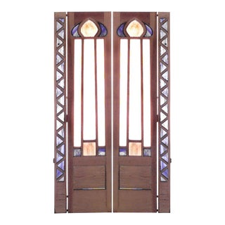 English Arts & Crafts Stained Glass and Wood Doors For Sale