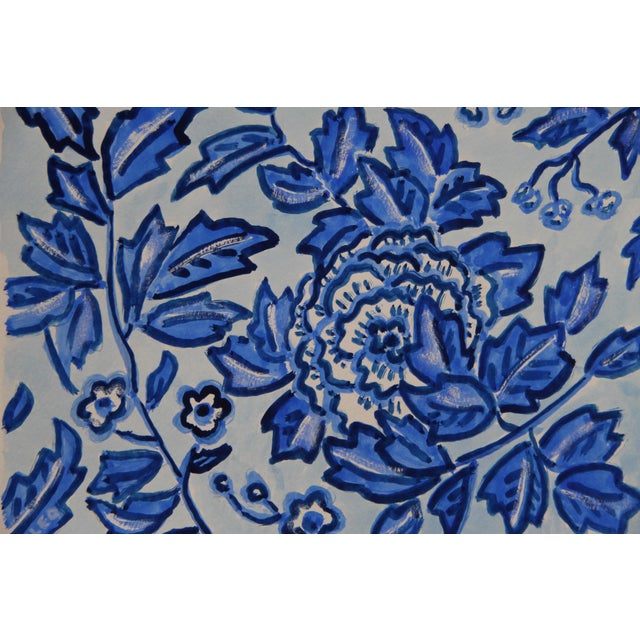 The branches of a peony shrub in a garden, in blue, inspired by Chinese paintings, in indigo, cobalt blue, and white on a...