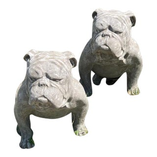 Outdoor Cement Bulldogs - A Pair For Sale
