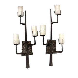 French Agostini Style Solid Bronze Organic Tree Branch Wall Sconce Alabaster Shades For Sale