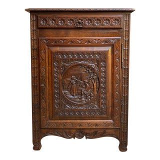 19th Century Antique French Carved Oak Confiturier Jam Cabinet Brittany Breton For Sale