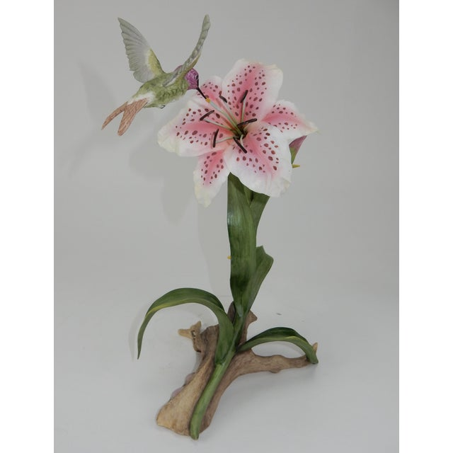 Traditional Boehm Hummingbird With Rubrum Lily Statue For Sale - Image 3 of 12