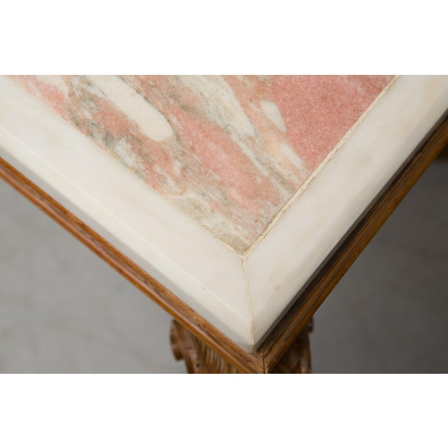 Italian Beechwood Console / Center Table With Marble Top For Sale In West Palm - Image 6 of 13