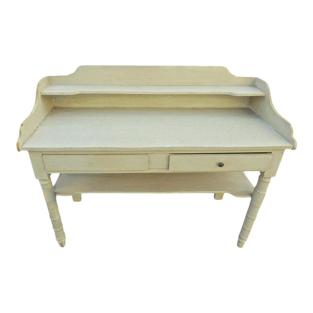 19th Century French Painted Server or Vanity With Two Drawers and Two Shelves For Sale