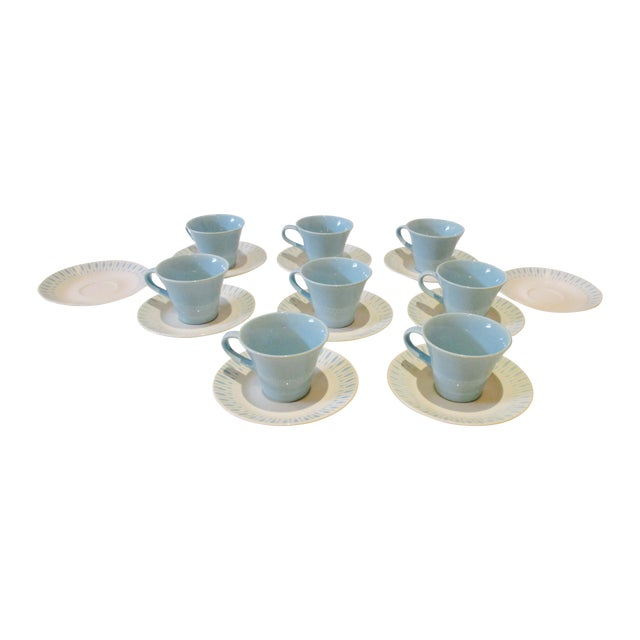 Mid Century Modern Atomic Starburst Cups & Saucers - 18 Pc - Image 1 of 11