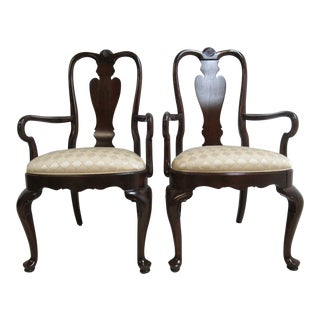 Ethan Allen Georgian Court Shell Carved Dining Chairs - A Pair