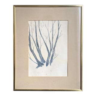 Brass Framed Botanical Watercolor Painting of Tree For Sale