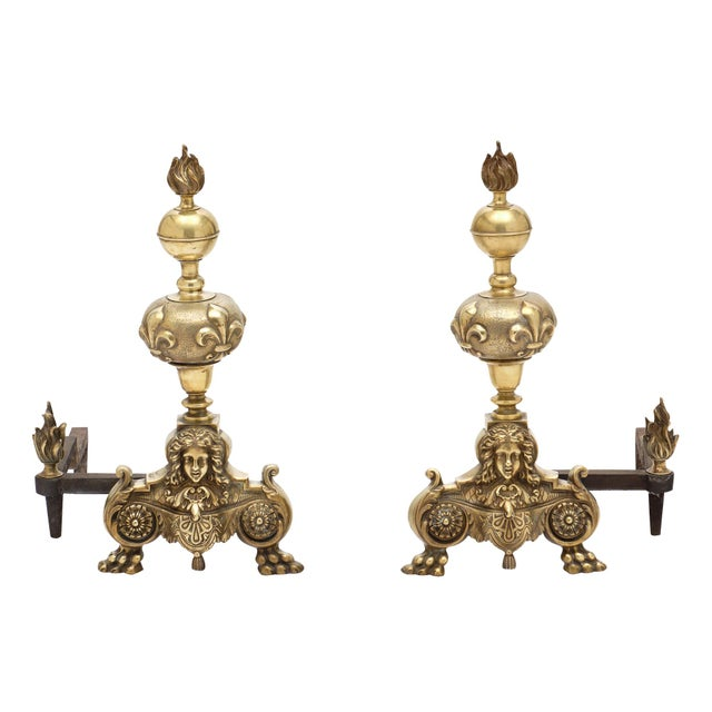 Antique French Louis XIV Bronze Andirons - a Pair For Sale - Image 10 of 10