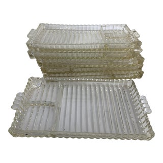 1950s American Glass Sandwich Trays - Set of 6 For Sale
