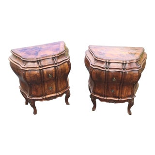 19th Century Italian Mixed Wood Bombe Commodes - a Pair For Sale