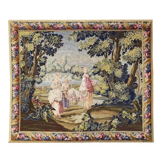1930s Antique Hand Made Needlepoint Pastoral Scenic View Wool and Silk, Signed For Sale