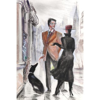 Erik Freyman, on the Street of New York, Watercolor With Pastel For Sale
