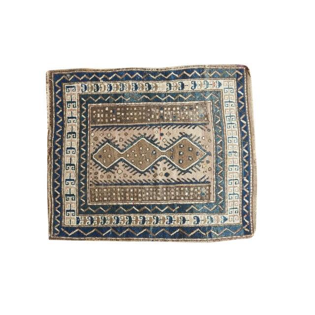 "Vintage Caucasian Square Rug - 3'6"" x 4' For Sale"