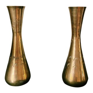 Vintage Hollywood Regency Etched Brass Bud Vases - a Pair For Sale