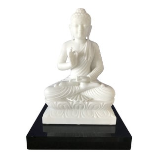 Large Rare White Jade Seated Buddha Statue on Black Lacquer Base For Sale
