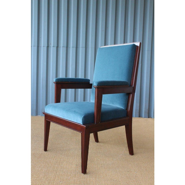Blue Mahogany Armchair in Velvet, France, 1940s. Set of Four Available. For Sale - Image 8 of 12