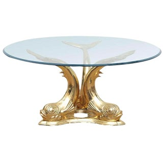 Brass Dolphin Coffee Table For Sale
