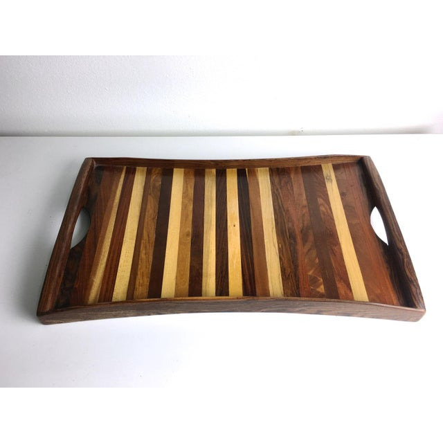 Mid-Century Modern 1960s Vintage Don Shoemaker Tessellated Mixed Exotic Wood Serving Tray For Sale - Image 3 of 6