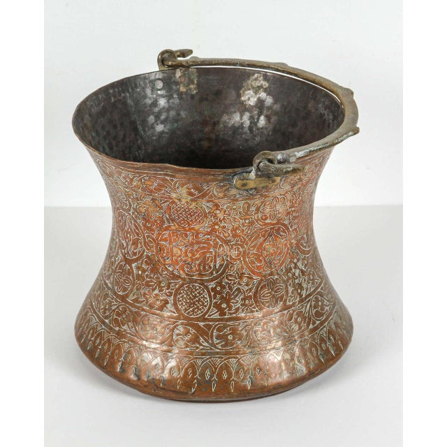 Metal Large 19th Century Persian Copper Bucket With Handle For Sale - Image 7 of 9