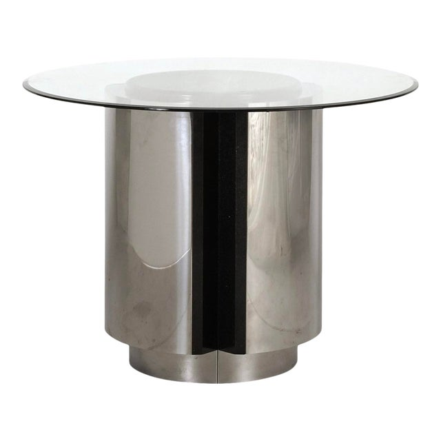 1980s Pace Collection Chrome and Granite Dining Table With Glass Top For Sale