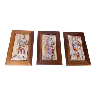 Italian Framed Figural Warrior Terracotta/Porcelain Enamel Panels - Set of 3 For Sale