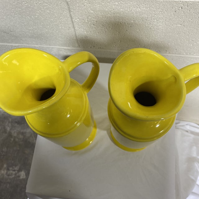 Canary Yellow Haeger Canary Yellow Ceramic Pitchers - a Pair For Sale - Image 8 of 10