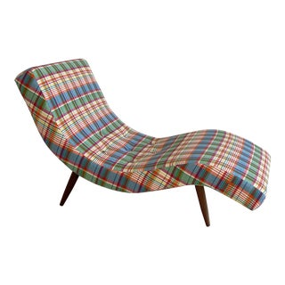 Vintage Adrian Pearsall Style Plaid Wave Chaise Lounge For Sale