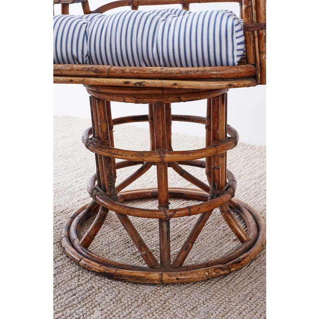 Franco Albini Style Bamboo Rattan Swivel Lounge Chairs For Sale - Image 12 of 13