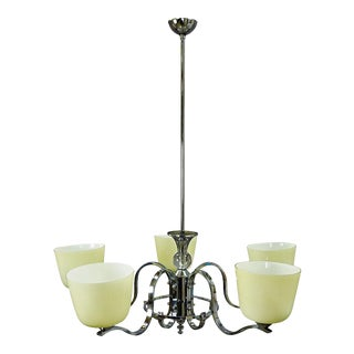 Antique Bauhaus Style Chandelier With Five Opaline Glass Shades For Sale