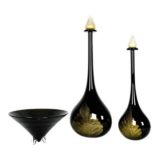 Large Mid Century Modern Art Deco Style Murano Glass Pieces - Set of 3 For Sale