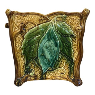 French Majolica Square Leaf Cachepot, Circa 1890 For Sale