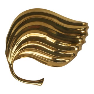 Tommaso Barbi Brass Modernist Leaf Sconce For Sale
