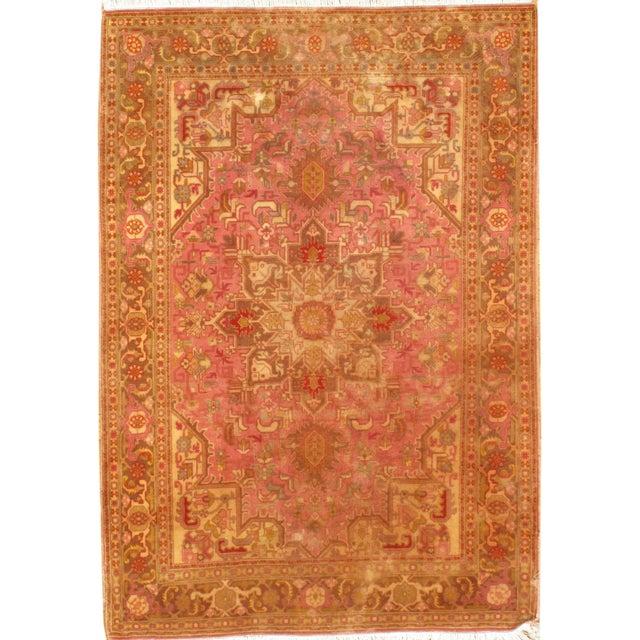 """2010s Pasargad N Y Persian Tabriz Heriz Design Silk & Wool Pile Rug - 3'4"""" X 4'10"""" For Sale - Image 5 of 5"""