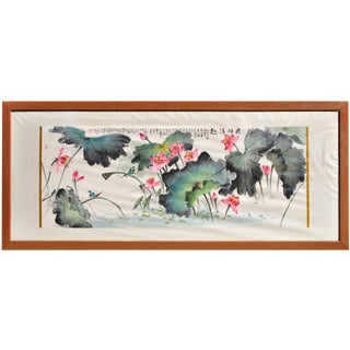 """Huge (124""""x51"""") Chinese Watercolor Painting Depicting Lotuses and Birds in a Pond For Sale"""