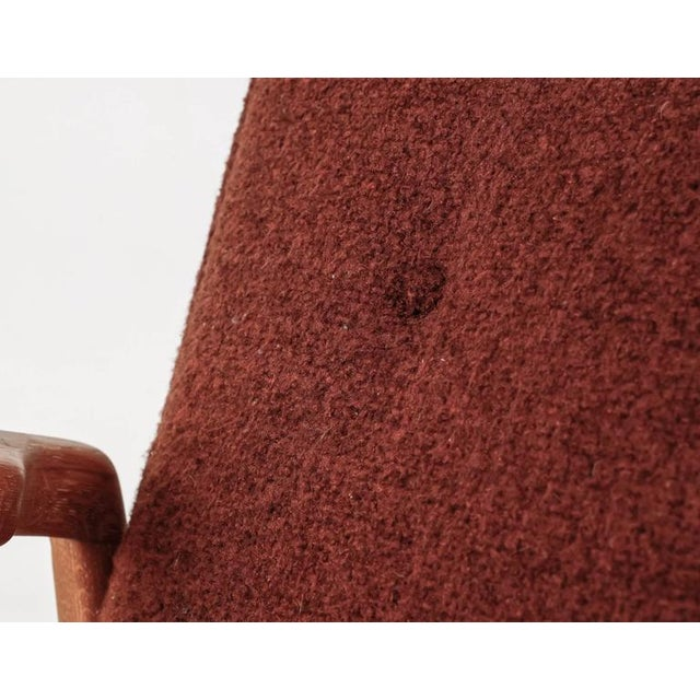 Red Jens Risom Walnut Lounge Chair with Red-Brown Wool Cushions, USA, 1950s For Sale - Image 8 of 10