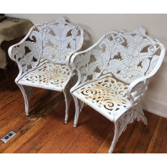 Traditional Victorian Iron Fern Garden Chairs - A Pair For Sale - Image 3 of 9