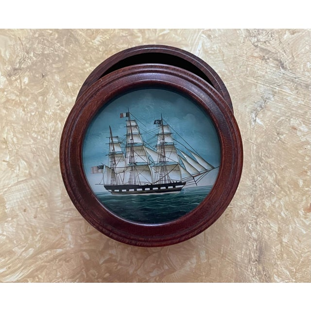Vintage American Clipper Ship Reverse Painted Wood Box, Round Trinket Box For Sale In West Palm - Image 6 of 11