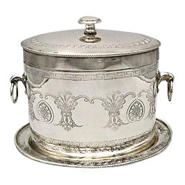 Silver-Plate Greek Key Biscuit/Ice Box