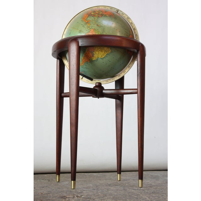 1960s Replogle Illuminated Glass Globe on Mahogany Stand For Sale - Image 13 of 13