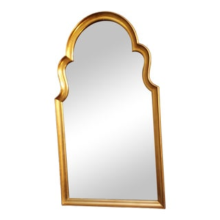 Antique Mid 20th Century Gold Framed Arch Top Mirror For Sale