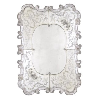 A stunning and shapely Venetian rectangular etched mirror For Sale