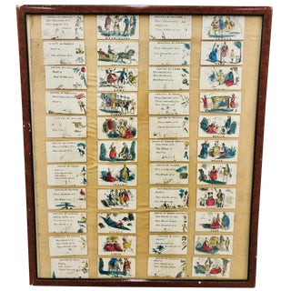 """Antique """"Capital Fun"""" Card Game in Frame For Sale"""