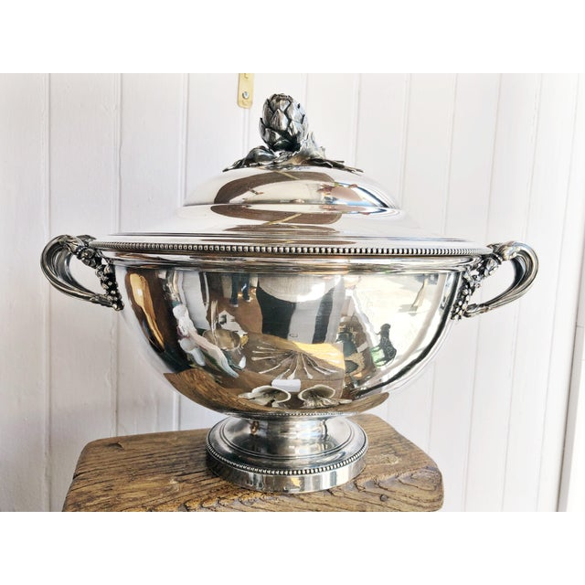 Antique Christofle Silver Tureen With Armorial Engraving For Sale - Image 11 of 13