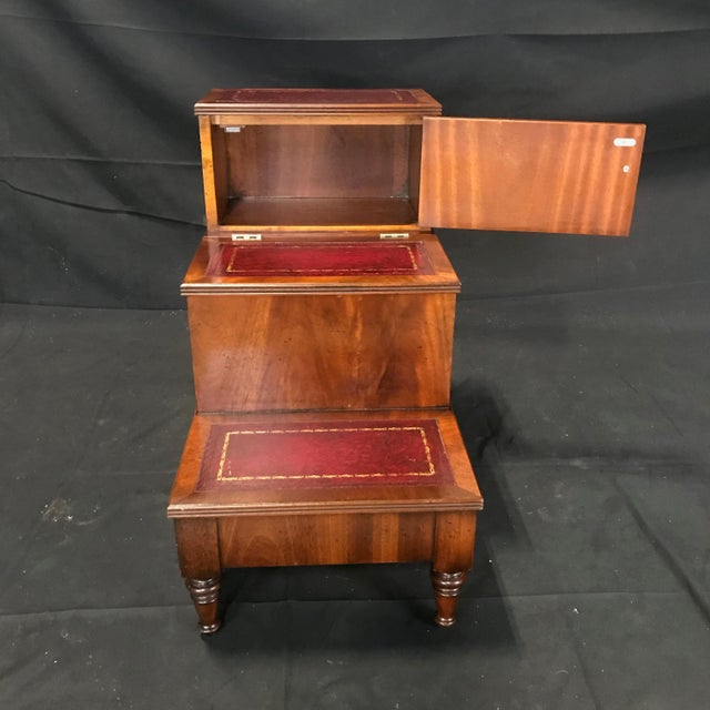 British Mahogany Library Steps With Burgundy Tooled Leather Treads For Sale - Image 11 of 12