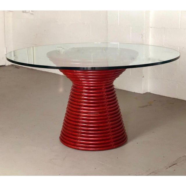 Red Contemporary McGuire Red Round Table For Sale - Image 8 of 8