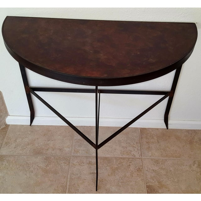 Iron & Acid Washed Copper Console Table - Image 2 of 7